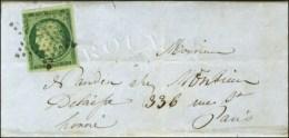 Etoile / N° 2 (belles Marges Et Infime Froissure) Sur Lettre Avec Texte De Paris Pour Paris, Au Verso... - 1849-1850 Ceres