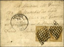 Grille / N° 1 Paire Càd T 14 LUXEUIL (69) 28 JUIL. 1851 Sur Lettre Avec Texte Au Tarif De Militaire. -... - 1849-1850 Ceres