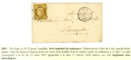 Etoile / N° 1 Belles Marges Càd PARIS (60) Sur Imprimé Complet Pour Versailles. 1852. - SUP. - R. - 1849-1850 Ceres