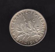 Pièce De 1 Franc Argent 1918 France,  - Ref, B76
