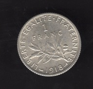 Pièce De 1 Franc Argent 1918 France,  - Ref, B77 - G. 50 Centimes