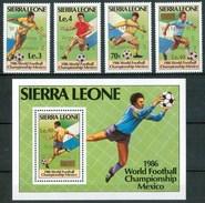 """1986 Sierra Leone """"Mexico 86"""" Coppa Del Mondo World Cup Calcio Football Set + Block MNH** RR76 - Sierra Leone (1961-...)"""