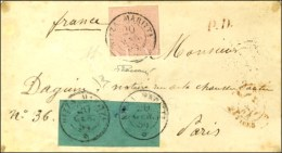 Càd NIZZA MARITTA / * / Sardaigne N° 4 Paire + 6 (belles Marges) Sur Lettre Pour Paris. 1854. - TB /... - Sardinia