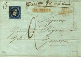 Oblitération Noeud D'amour / Sardaigne N° 2 (def) Sur Lettre Avec Texte Daté De Nice Pour... - Sardinia