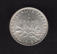 Pièce De 1 Franc Argent 1918 France,  - Ref, B78 - France