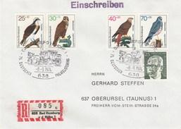 Allemagne Fédérale - Lettre/Oiseaux Divers, Année 1973, Y.T. 604/607 - Covers & Documents