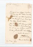 ESTELLE THEODORE (1791 18..) ACTRICE DE THEATRE (GYMNASE .THEATRE DU PALIS ROYAL) LETTRE A SIGNATURE 1829 - Autogramme & Autographen