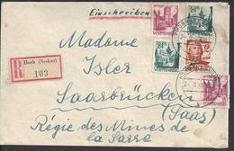 ALLEMAGNE - 1949 - Enveloppe Recommandée De Horb/Neckar à Destination De Saarbrucken - - Zone Française