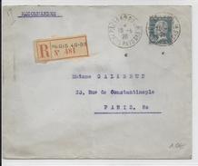 """1928 - PASTEUR - PERFORE Sur ENVELOPPE RECOMMANDEE """"BANQUE De PARIS"""" à PARIS (CACHET DE CIRE) - PERFIN - Perforés"""