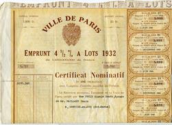 ACTIONS..TITRES..VILLE DE PARIS...1932 - Actions & Titres