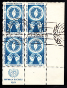 United Nations NY Used 1955 Scott #39 Lower Right Plate Block 3c Human Rights Day - New-York - Siège De L'ONU