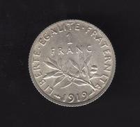 Pièce De 1 Franc Argent 1919 France,  - Ref, B84 - France