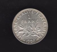 Pièce De 1 Franc Argent 1920 France,  - Ref, B88 - France