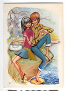 Fantaisie Carte Brodée Couple Adolescents  RIO - Brodées
