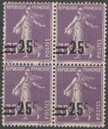 France 1926-27 N° 218 NMH Semeuse Camée Fond Plein Surchargée Bloc De Quatre (D26) - 1906-38 Semeuse Con Cameo