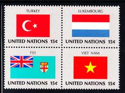 United Nations NY MNH 1980 Scott #328a Block Of 4 15c Flags: Turkey, Luxembourg, Fiji, Viet Nam - Neufs