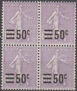 France 1926-27 N° 223 NMH Semeuse Fond Lignée Surchargée Bloc De Quatre (D26) - 1903-60 Semeuse A Righe