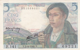 5 Francs Le Berger Du 05 04 1945   Ref  Fayette 5/6  Neuf - 1871-1952 Circulated During XXth