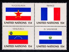 United Nations NY MNH 1980 Scott #336a Block Of 4 15c Flags: Yugoslavia, France, Venezuela, El Salvador - Neufs
