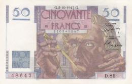 50 Francs Le Verrier Du 02 10 1947  Ref  Fayette  20/09  Splendide - 1871-1952 Anciens Francs Circulés Au XXème