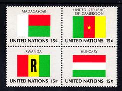 United Nations NY MNH 1980 Scott #340a Block Of 4 15c Flags: Madagascar, Cameroon, Rwanda, Hungary - Neufs