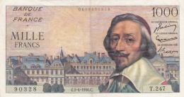 1000 Francs Richelieu Du 05 04 1956  Ref  Fayette  42/20 - 1871-1952 Circulated During XXth