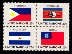 United Nations NY MNH 1982 Scott #385a Block Of 4 20c Flags: Philippines, Swaziland, Nicaragua, Burma - Neufs
