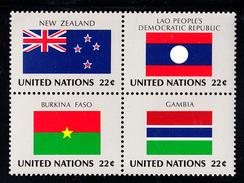 United Nations NY MNH 1986 Scott #480a Block Of 4 22c Flags: New Zealand, Laos, Burkina Faso, Gambia - New-York - Siège De L'ONU
