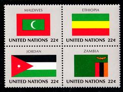 United Nations NY MNH 1986 Scott #484a Block Of 4 22c Flags: Maldives, Ethiopia, Jordan, Zambia - New-York - Siège De L'ONU