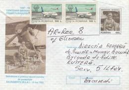 A80  FIRST RECORDS TO Parachuting SACRAMENTO U.S. 1932 ,COVERS STATIONERY 1997 ROMANIA.