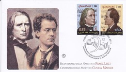 Vatikan, 2011. Deutschsprachige Komponisten: Mi: 1726 Liszt + 1727 Mahler - FDC