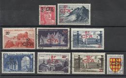 REUNION - LOT DE 12 TIMBRES OBLITERES - COTE YT : 14.40€ - 1949/54