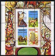 Nigeria 1990, Animals, Birds, Gorilla, Giraffe, Parrot, Unmounted Mint Msheet With Wrong Perf Pattern - Vert & Horiz Per