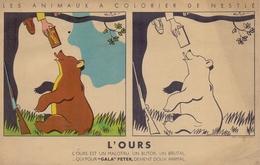 FRANCE : ## NESTLÉ ## Image à Colorier: «L'OURS» De La Série  @ Les Animaux à Colorier De Nestlé @: Dessin De BEUVILLE - Chocolat