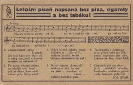 CESKOSLOVENSKO: Not Travelled Postcard:  MUSIC,STAFF,SONG,SMOKING,CIGARETTES,PIPE,TOBACCO,JOS. SVAB, - Tabac
