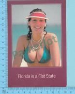 "Florida  -  Pin Ups , "" Florida Is A Flat State "" - 2 Scans - Stati Uniti"
