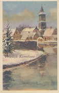 NEDERLAND :1937: ## Vrolijk Kerstfeest ##: SNEEUW,KLOKKETOREN,DENNEBOOM, - Otros