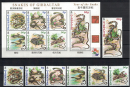 Gibraltar. 2001. Year Of The Snake. MNH Set And Sheet Of 7. SCV = 17.00 - Snakes
