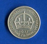 Australie  Pounds  1937  Crown  Ttb  Arg  28 Gr  200 - Monnaie Pré-décimale (1910-1965)