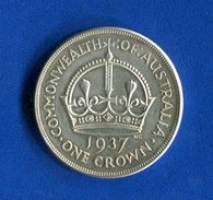 Australie  Pounds  1937  Crown  Ttb  Arg  28 Gr  200 - Sterling Coinage (1910-1965)