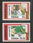 1986 Tonga  Ameripex Peace Corps Education Stamp On Stamp Complete Set Of 2 MNH - Tonga (1970-...)