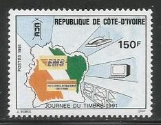 1991 Ivory Coast Cote D'Ivoire EMS Map Mail Delivery   Complete Set Of 1 MNH - Ivoorkust (1960-...)
