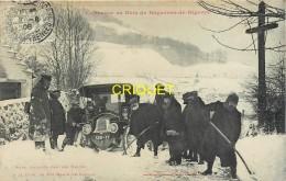 65 Bagnères De Bigorre, Concours De Ski, Auto Bloquée Par Les Neiges, Superbe Plan, Carte Pas Courante Affranchie 1908 - Bagneres De Bigorre