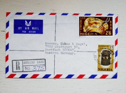 Cover Sent From Nigeria To Germany  Animals Kobs Bronze Cast Registered 1971 - Nigeria (1961-...)