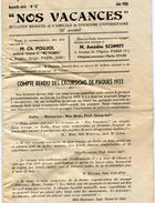 NOS VACANCES - Bulletin Mensuel De L'Amicale De Tourisme Universitaire - Juin 1933 - - Tourism