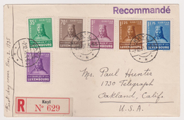 Luxembourg - 1935 Ct Charles Semi-postal Set - FIRST DAY COVER - Kayl Registered To USA - Prifix (2007) 500 Euros - Covers & Documents