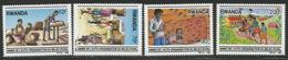 1989 Rwanda Rwandaise Rural Enterprise Pottery Agriculture Potatoes Complete Set Of 4 MNH - Rwanda