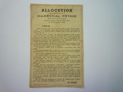 TRACT De L'ALLOCUTION Prononcée Par Le Maréchal  PETAIN  Le 30 Novembre  1940  X - Army & War