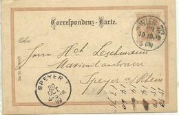 POSTKARTE  WIEN A SPEYER 1899 - Stamped Stationery
