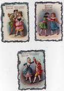 CHROMO Découpis Gaufrée Chocolat Poulain Filles Jeu Colin-maillard Couple Enfants Moyen âge Danse Amoureux Cor (3 Chrom - Poulain